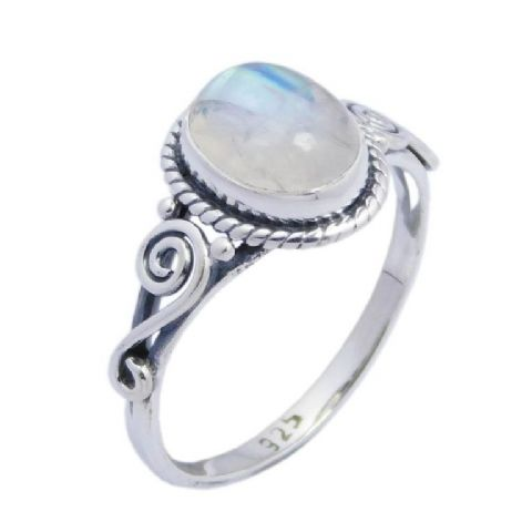 Oval Swirl Rainbow Moonstone Ring ~ Sterling Silver